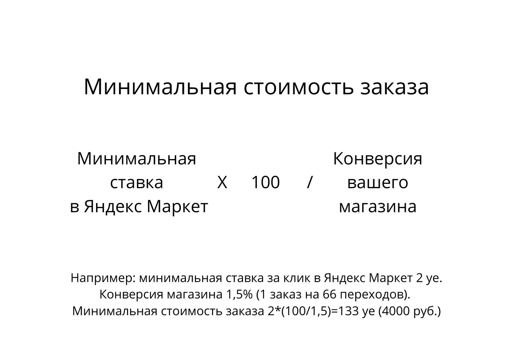 Минимальная стоимость заказа в Яндекс Маркет